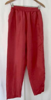 Vintage Womens EVR Fully Lined, Red, 100% Silk Lounge or Track Pants Sx PP or XP