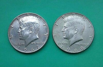US Kennedy Silver Half Dollars - 1967 & 1968