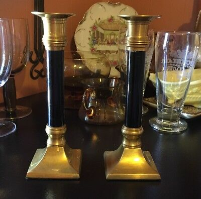 "Vintage  Gatco Pair Solid Brass And Black 7 1/2"" Candlesticks"