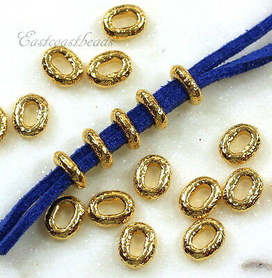 TierraCast Oval Crimp Bead, Distressed, Large Hole, 8mm, Gold Plate, 10 Pcs 9025