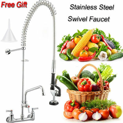 "12"" Commercial Wall Mount Kitchen Pre-Rinse Faucet w/ Add-On Restaurant Tap USA"