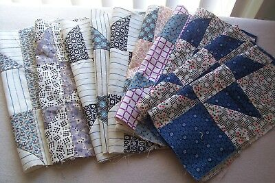 Antique VTG 1900-1930 Cotton Fabric Blocks Quilts/Crafts/Dolls Ten