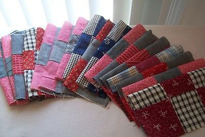 Antique VTG Late 1800's Cotton Fabric Blocks Quilts/Crafts/Dolls Seventeen