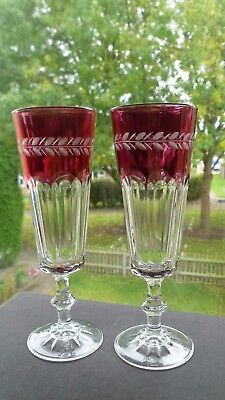 A Pair Of Antique Victorian Durand Art Glass Flash Cranberry Champagne Flutes C