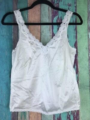 Vtg JcPenney Camisole Cami Slip Top Sz 32 White Lace Lingerie Sexy