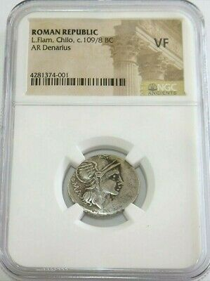 c. 109/8 BC SILVER ROMAN REPUBLIC L. FLAMINIUS CHILO DENARIUS COIN NGC VERY FINE