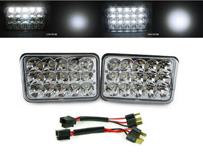 Full LED High + Low H4666 4x6 Headlight + Wire Adapter For 91-93 Dodge Stealth