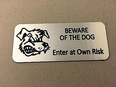 """BEWARE OF THE DOG """"SILVER"""" - ENGRAVED SIGN with ADHESIVE - Size 60mm x 140mm"""