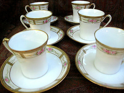 ANTIQUE NIPPON  DEMITASSE SET 6 CUP & SAUCER  HAND PAINTED GILDED c1911
