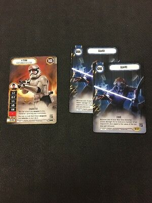 Star Wars Destiny Q3 2017 Finn Alternate Art promo and  Guard x2 Promos