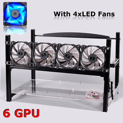 6 GPU + 4 Fan Mining Rig Open Air Miner Frame Stackable Case For ETH/ZEC/Bitcoin