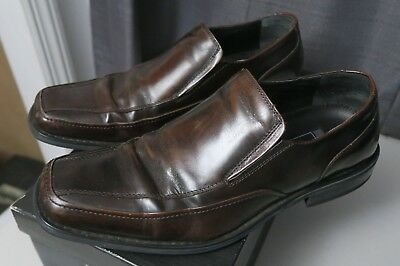 Natha Studio Brown LEATHER Loafers w/ Black Soles MEN'S SHOES Size 10.5 840036