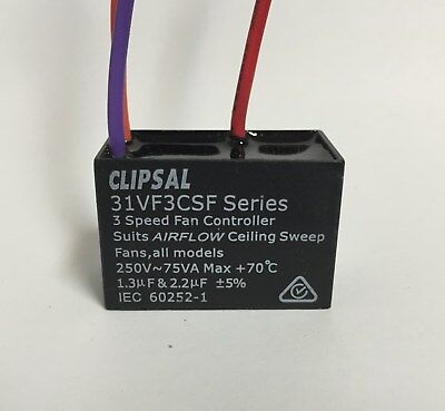 Clipsal 31VF3CSF 3 speed fan controller capacitor 1.3uf & 2.2uF 250VAC Airflow