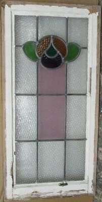 "LARGE OLD ENGLISH LEADED STAINED GLASS WINDOW Cute Floral 16.75"" x 33.75"""