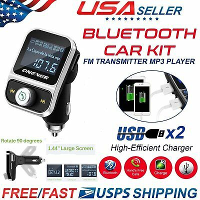 ONEVER Bluetooth Car Kit FM Transmitter Radio MP3 Player 2 USB Charger Adapter