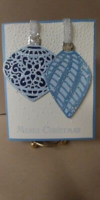 Stampin' Up! Set of 6 Blue Cream Ornament Christmas Holiday Cards w/ Envelopes