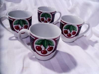 MARY ENGELBREIT Cherries CHERRY CAMEO 4 Pc Lot MUGS/CUPS 2001 EXCELLENT!