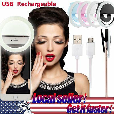 Rechargeable Selfie Portable LED Ring Fill Light Camera for iPhone Android Phone