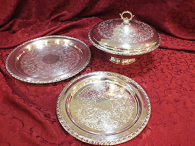 "Vintage WM Rogers Lidded Bowl By Oneida Ltd. Silversmith + 12"" & 10"" Bonus Tray"