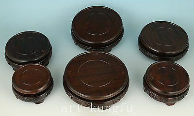 6 Piece Set Chinese Wood Stand For Snuff Bottle Statue Box vase Etc