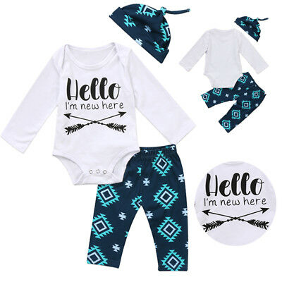 AU Kids Baby Boy Girl Hello I'm New Here Arrow Romper+Long Pants+Hat Outfits Set