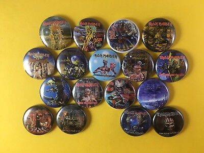 "Iron Maiden 1"" Button Pin Lot Heavy Metal Steve Harris Powerslave Seventh Son"