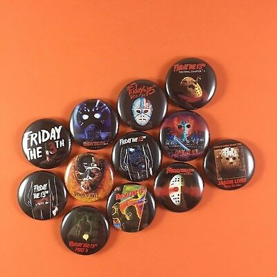 "Friday the 13th 1"" Button Pin Lot Jason Voorhees horror slasher classic"