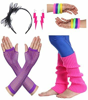 Women's Theme Party Costume 80s Outfit Accessories Earrings Leg Warmers Gloves