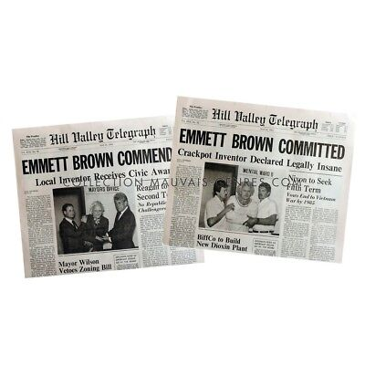 BACK TO THE FUTURE Newspapers Prop Replicas Emmett Brown 15x21 in. USA - 1985 -