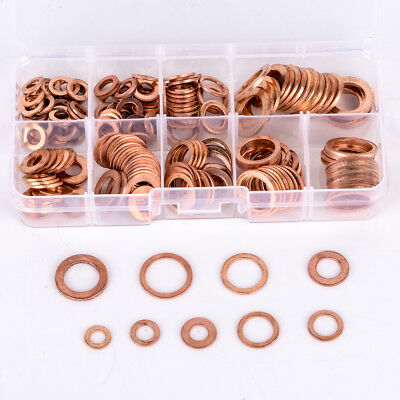 200Pcs Solid Copper Washers Sump Plug Assorted Washer Car Set Plastic Box New