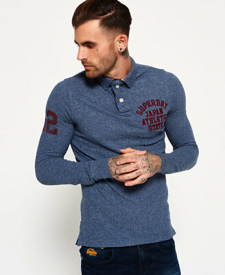 New Mens Superdry Super State Long Sleeve Polo Shirt Indigo Grindle