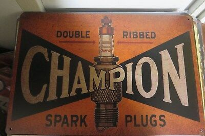 champion spark plugs double ribbed .metal sign MAN CAVE brand new .