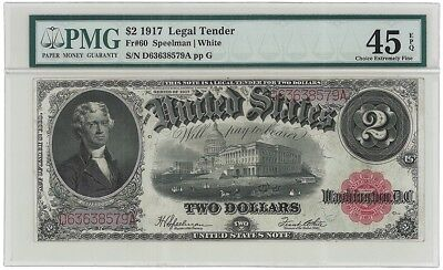 $2 1917 Legal Tender PMG 45 EPQ   Fr.60