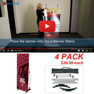 "Portable H banner stand Trade Show Booth Exhibit Display 24""x63"" 4 PCS"