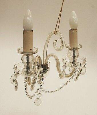 5 Crystal Glass Icicle Chandelier Light Fitting Drops
