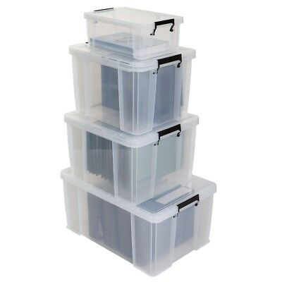 Whitefurze Allstore Clear Plastic Storage Container Strong Heavy Duty Box & Lid