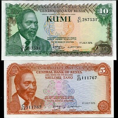 Kenya Set 2 Pcs 5 10 Shillings 1978 P 15 P 16 Unc