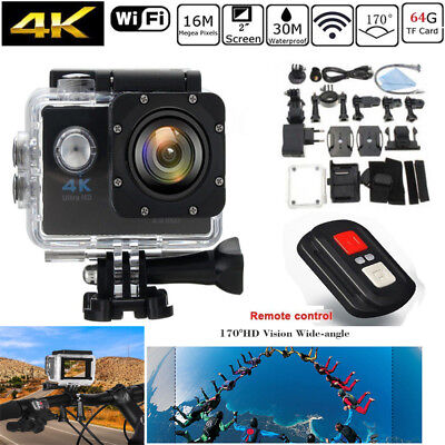 Waterproof 1080P HD 4K Action Sports Camera 170° Wide Angle Lens WiFi DVR Cam CO