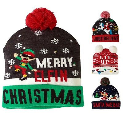 a476f9d9dfee6 LED LIGHT UP Ugly Holiday Christmas Party Cuff Hat Beanie -  14.99 ...