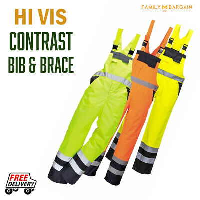 Portwest Hi Vis Contrast Bib and Brace Waterproof Work Trousers Dungarees S488