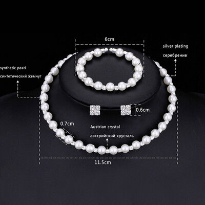 1x Pearl Crystal Bridesmaid Wedding Jewellery Set Necklace Bracelet Earrings