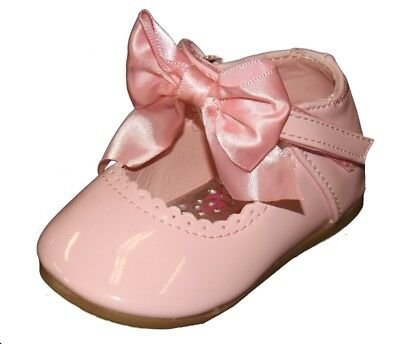 Melia Romany Spanish Style Patent Pink Baby Toddler Satin Bow Dress Shoes