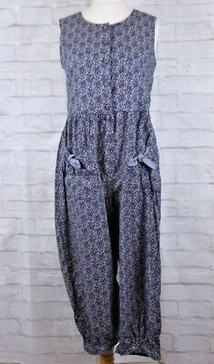 Vintage Laura Ashley Blue Floral Sleeveless Cotton 3/4 Jumpsuit Dress Size UK M