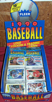 405 Unopened Baseball Cards Fleer 1990 Trading Card Pack Packs Logo Stickers Old