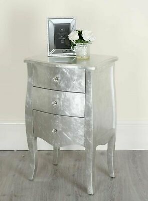 Silver Shabby Chic Antique Table Bedside Drawers Tallboy Cabinets Drawers French