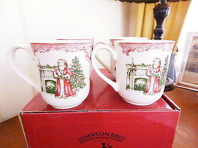 Johnson Bros OLD BRITAIN CASTLES Christmas Mugs Santa SET / 4 Coffee - NEW/BOX!