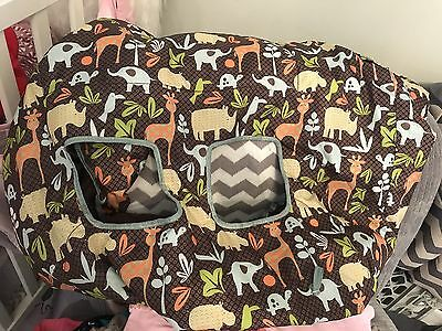 Infantino baby 2-in-1 Shopping Cart/Highchair Cover- Safari Animals EUC
