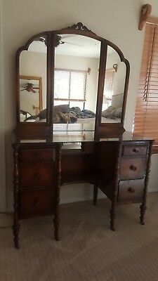 Antique Vanity with matching Vanity Bench