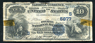 1882 $10 Db The Fourth Nb Of Montgomery, Al National Currency Ch. #5877