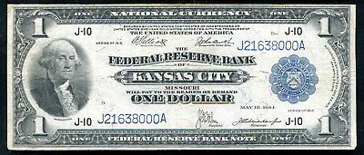 Fr. 739 1918 $1 One Dollar Frbn Federal Reserve Bank Note Kansas City, Mo Vf